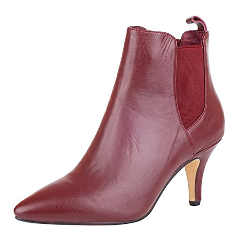 Leather queenfoot Toe High Leather wine Comfortable A Women's Ankle Boots Genuine Almond Shoes Heel Elastic gr84Twgq