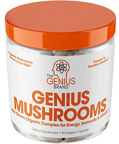 Genius Mushroom – Lions Mane, Cordyceps and Reishi – Immune System Booster & Nootropic Brain Supplement – Wellness Formula for Natural Energy, Stress Relief, Memory & Liver Support, 90 Veggie Pills ()