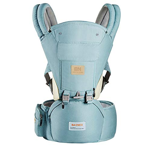 Ergonomic 360° Baby Soft Carrier, Comfortable Adjustable Positions,Breastfeeding Fits All Newborn Toddler,HipSeat Infant Child Carrier, All Seasons,Perfect for Hiking Shopping Travelling (Light Blue)