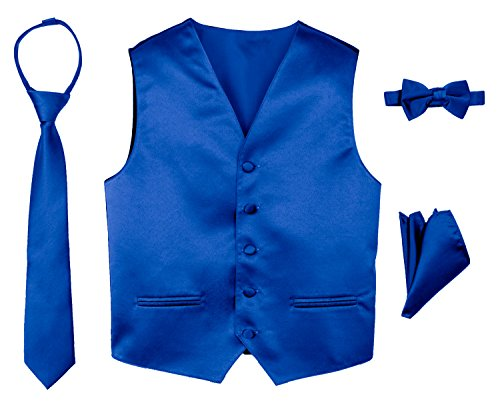 Spring Notion Boys' 4-Piece Satin Tuxedo Vest Set 14 Royal Blue
