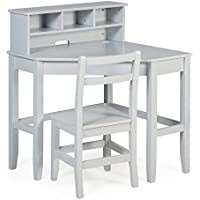 Classic Playtime Juvenile Corner Desk and Reversible Hutch with Chair - Gray