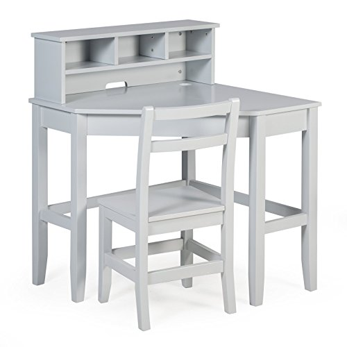 Classic Playtime Juvenile Corner Desk and Reversible Hutch with Chair - Gray by Classic Playtime