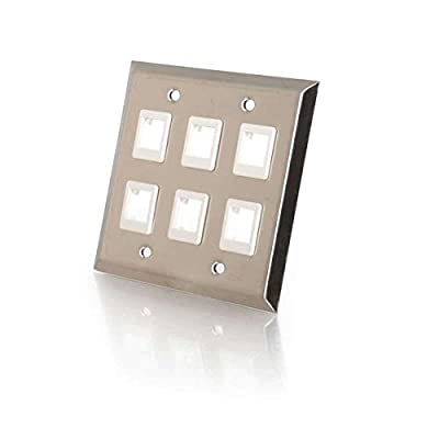C2G/Cables to Go 37098 Six Port Keystone Double Gang Wall Plate - Stainless Steel