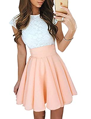 Ninimour Women's Trendy Splicing High Waist Pleated Lace Mini A-Line Dress