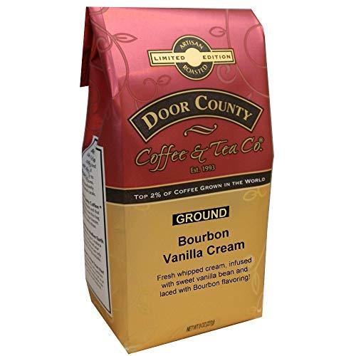 - Door County Coffee, Bourbon Barrel-Aged Flavored Coffee (Bourbon Vanilla Cream, 10oz Bag Ground)