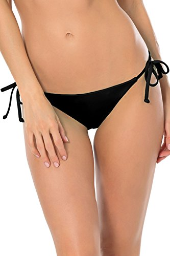 Becca by Rebecca Virtue Women's Tie Side Hipster Bikini Bottom Black L ()