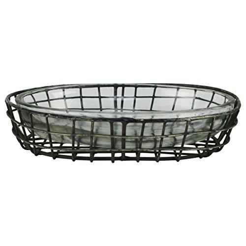 Primitive Style Metal Wire & Glass Bath Soap Dish Farmhouse Bathroom Kitchen Decor (Farm Dish Soap)