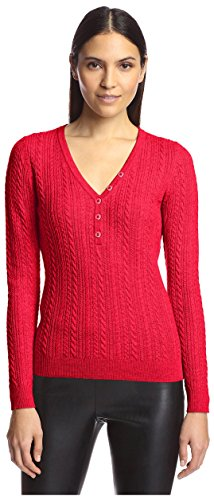 Cable Henley Sweater - SOCIETY NEW YORK Women's Cable Henley Sweater, Red, M