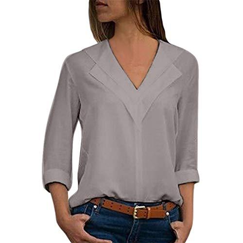 Orangeskycn Women Chiffon Solid T-Shirt Office Ladies Plain Roll Sleeve Blouse Pullover ()