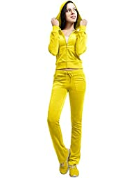NE PEOPLE Womens Velour/ Terry Hoodie Sweatsuit Set NEWWTS03-YELLOW-L