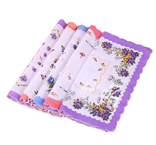 Forlisea Womens Beautiful Cotton Floral Handkerchief Wendding Party Fabric Hanky 10pcs -