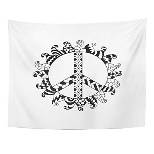Emvency Wall Tapestry Hippie Vintage Peace Symbol in Zentangle Style Ornamental Tie Dye White Mandala Round Pattern Hippy Retro 1960S 60S 70S Decor Wall Hanging Picnic Bedsheet Blanket 80x60 Inches -