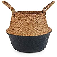 GulfDealz Jute Basket Woven Planter Basket Rope Laundry Basket with Handles for Toys, Blanket and Pot Plant- Black Large
