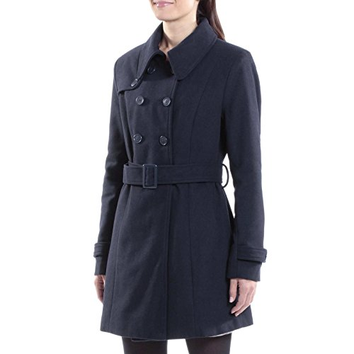 Alpine Swiss Keira Women's Navy Wool Double Breasted Belted