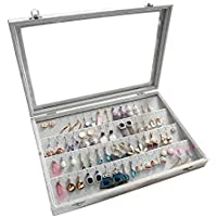 Clear Lid Earrings Organizer Holder Velvet Jewelry Tray Display Showcase Storage 32 Pairs Earring Box Case Lockable Earrings Box