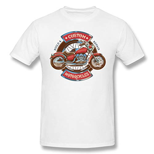 WENSON Mens Motorcycle-car-Scooter-Logo-red-Retro-Motorcycle Classic T-Shirts White XL with Short Sleeve