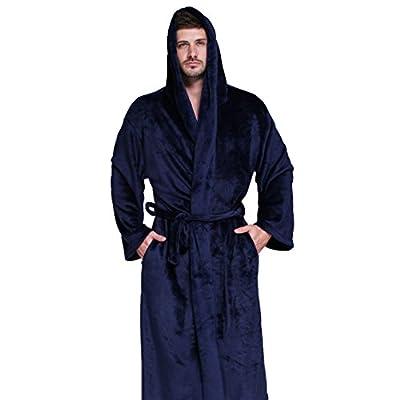 DOUGLAS&GRAHAME Mens Soft Fleece Bath Robes Plush Shawl Collar Kimono Bathrobes Robes Sleepwears