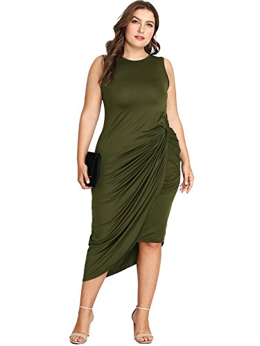 Floerns Women's Plus Size Maxi Dress Green - Maxi Dress Twist Front