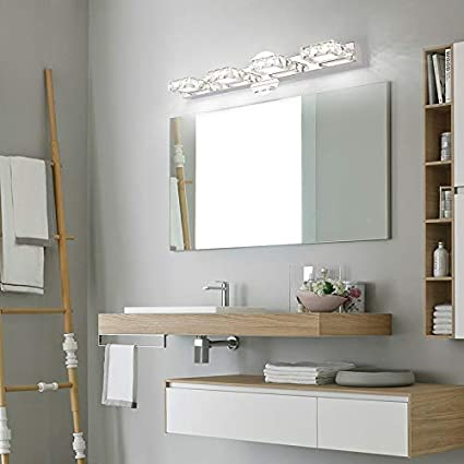 5500k White Light Aipsun 24 4 Inch Crystal Vanity Lights Over Mirror Crystal Wall Lights For Bathroom