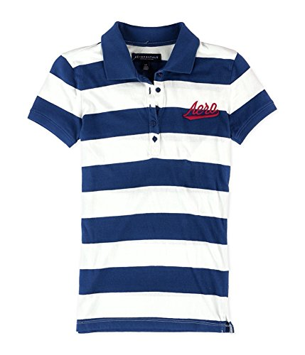 Aeropostale Womens Striped Logo Polo Shirt, Blue, ()