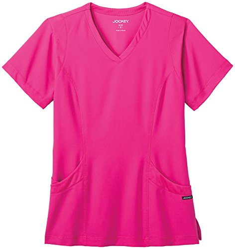 Modern Fit Collection By Jockey Women's Mesh Trim V-Neck Solid Scrub Top Medium Berry (Berry Trim)