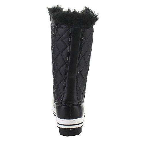 Nature Breeze Frost-03 Dames Lace Up Gewatteerde Midfaal Winter Snowboots Zwart