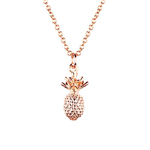 Pineapple Necklace in Gold Silver Rose Gold Pineapple Jewelry 3D Pendant Necklace Mother's Day Jewelry Gift (Rose Gold)