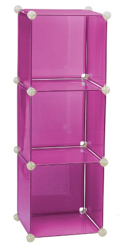 Lovely Storage Solutions 0404P6 13 Inch 3 Cube Storage Unit, Pink