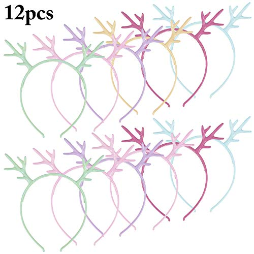 Cute Antler Headband, Fascigirl 12PCS Plastic Elk Deer Horn Hair Hoops Children Girls Women for Party Independent Day Cosplay Decoration Supplies Birthday Gifts