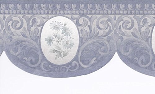 Silver Blue Floral Wallpaper Border