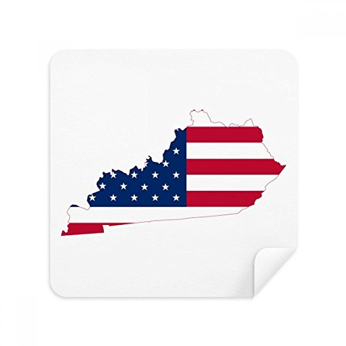 Kentucky USA Map Stars Stripes Flag Shape Glasses Cleaning Cloth Phone Screen Cleaner Suede Fabric 2pcs