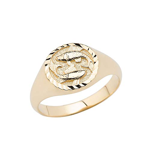 14K Pisces Yellow Gold Zodiac Ring Size 8.25