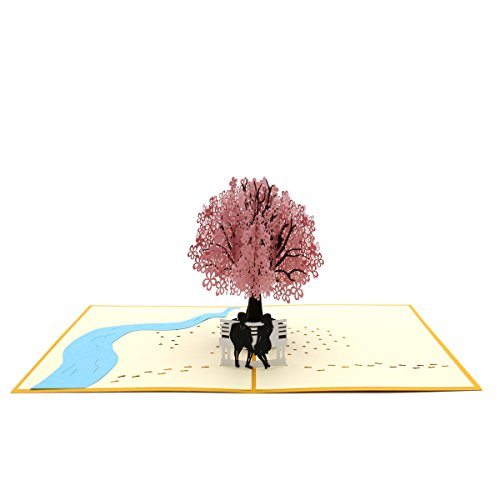 Rotus Handmade Cherry Blossom Pop Up Card, 3D Card, Springtime Card, Birthday Card, Dating Card for Husband, Wife, Boyfriend, Girlfriend (Cherry Blossom & Chair Lover)