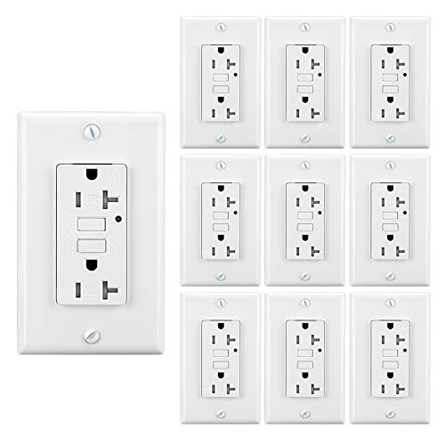 LEOD 20Amp TR&WR GFCI Outlet,125 Volt Tamper-Resistant And Weather-Resistant Receptacle With LED Indicator, 2 Wall Plates and Screws Included, White, ETL Listed (10 PACK)
