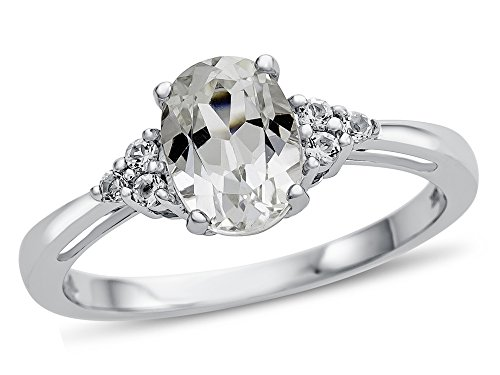Finejewelers 10k White Gold 8x6mm Oval White Topaz Ring Size 8 ()