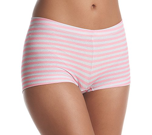 Maidenform Women's Dream Cotton Boyshort, Pink Ribbon Stripe, (Pink Ribbon Cotton Shorts)