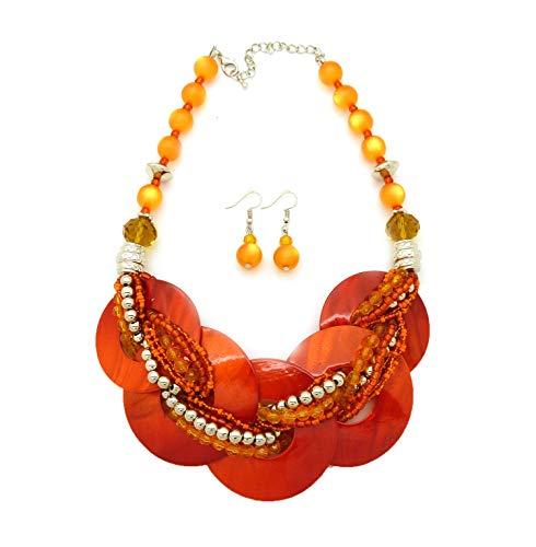 Women's Layered Round Colorful Shell Twisted Multi Beaded Statement Fashion Necklace (Orange ()