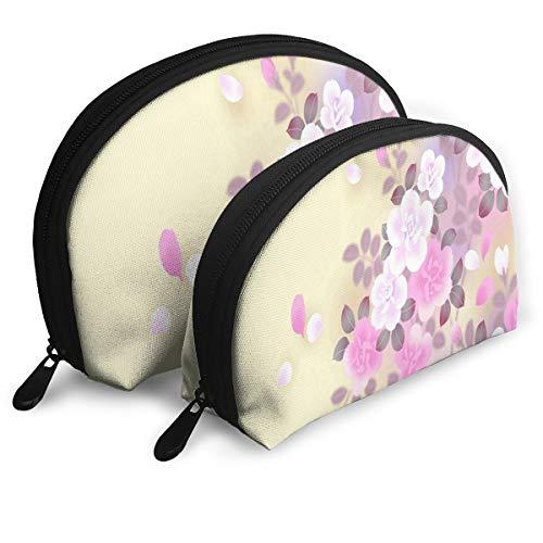 Makeup Bag Asian Motif Portable Shell Makeup Case For Girlfriend Halloween Gift 2 Pack ()