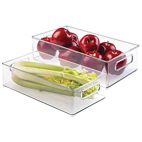 mDesign Large Stackable Kitchen Storage Organizer Bin with Pull Front Handle for Refrigerators, Freezers, Cabinets, Pantries - BPA Free, Food Safe - Deep Rectangle Tray Basket, Pack of 2, Clear