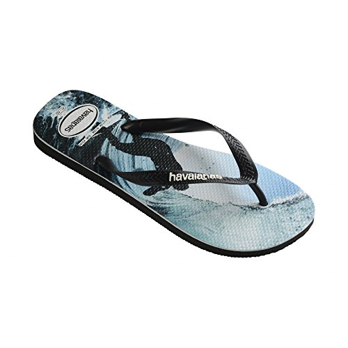 Havaianas Mens Top Photoprint Synthetic Flip-Flops Black-Ocean Size EU 43/44 - Bra 41/42 - US M9 by Havaianas