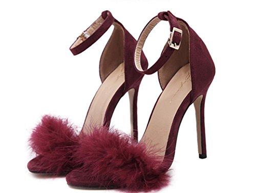 Piume YCMDM delle donne degli alti talloni dei sandali pattini romani albicocca Vino Rosso Rosa Nero 39 36 35 38 37 40 , wine red , 35