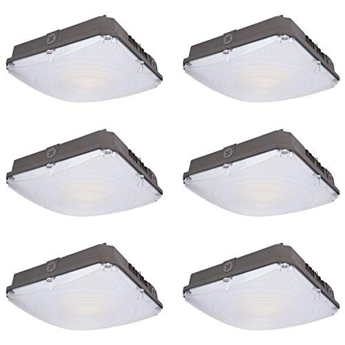 Hykolity 40W LED Canopy Light, 4800lm Outdoor LED Parking Garage Lights, Wet Rated Low Bay Soffit Lighting Fixture for Apartment Carport, 5000K, 1-10V Dimmable [150W MH Equivalent] - 6 Pack (Led Parking Garage Light)
