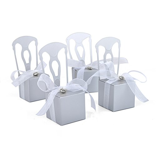 - Aspire 50 PCS Wedding Favor Boxes Place Card Holders Chair Party Favor Candy Box Small Gift Boxes