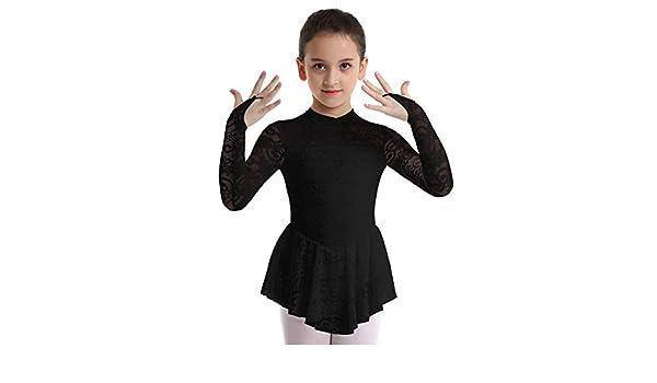TiaoBug Kids Girls Long Sleeve Lace Figure Ice Skating Dress Roller Skating Outdoor Sport Skirt