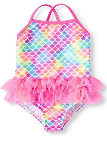 Wonder Nation Toddler Girls Pink Mermaid Tutu 1 Piece Swimsuit (3T)]()
