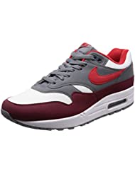 NIKE Mens Air Max 1 Shoe White/University Red/Grey