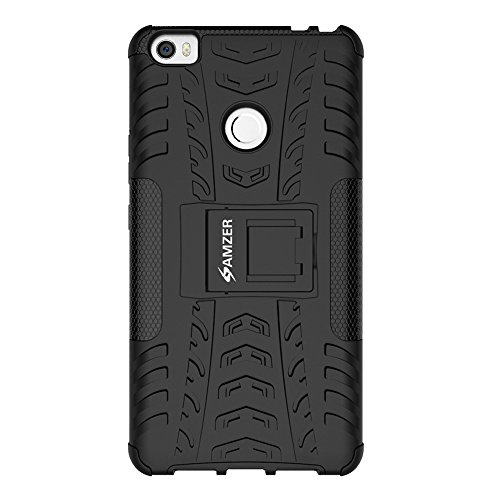 AMZER Impact Resistant Hybrid Warrior Case with Kickstand Skin for Xiaomi Mi Max - Retail Packaging - Black