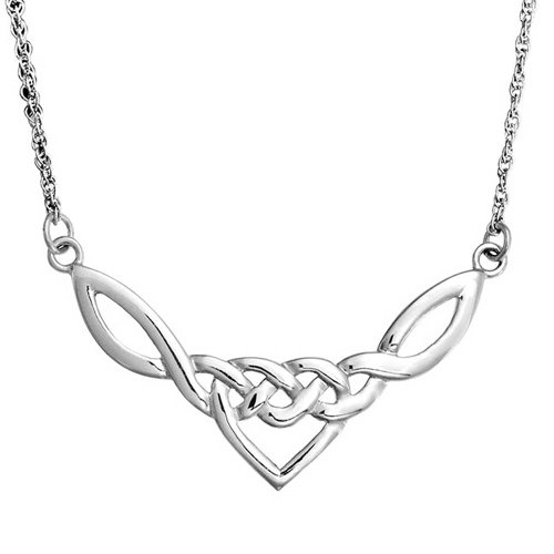Celtic Knot Heart Pendant Sterling Silver Necklace 18 Inches