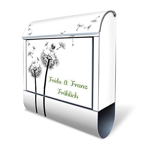 Design Briefkasten 38x42x11 mit Ihrem eigenen Namen und Motiv: Pusteblume 2