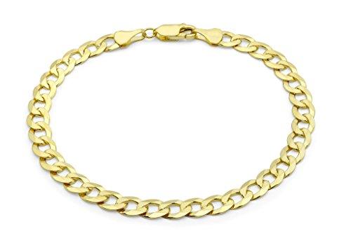 """Jewellery World Bague en or jaune 9carats Bracelet maille gourmette plat 20cm/8"""""""